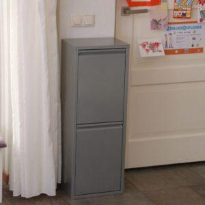 afvalbak met twee aparte compartimenten metallic grijs