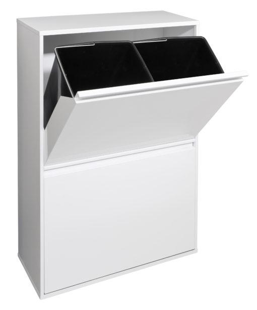 afvalbak met vier binnen emmers wit