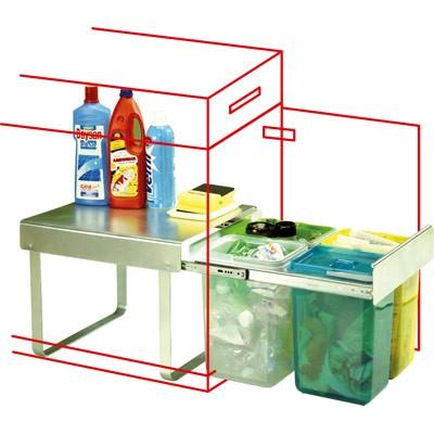 inbouw afvalbak met drie binnen emmers