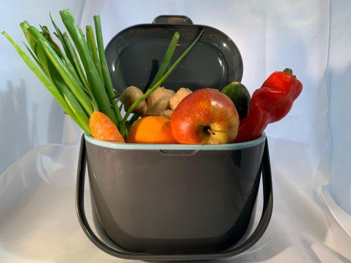 Brender Compost Caddy grijs / aqua