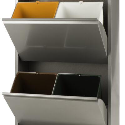 Afvalbak met vier compartimenten