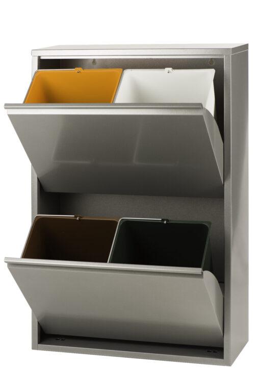 Brender afvalbak met vier binnen emmers