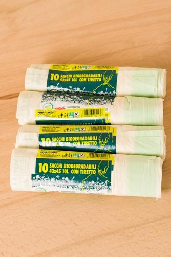 composteerbare biologisch afbreekbare afvalzak 10L met trekband